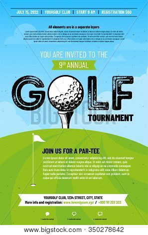 Poster Template For Golf Tournament With Golf Ball On Tee, Green Grass And Blue Sky With Clouds. Vec