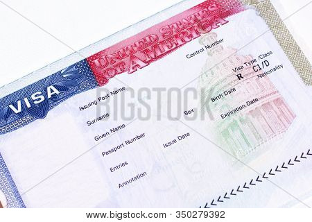 Fragment Of Blank American Visa In Passport. Empty Visa To Travel To United State Of America.