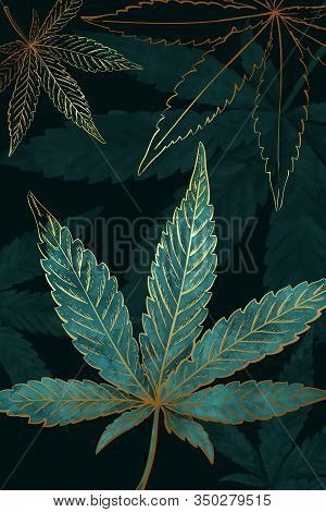 Beautiful Pattern Of Gold Turquoise Cannabis Leaves. Pattern Of Turquoise Or Green Marijuana Leaf On