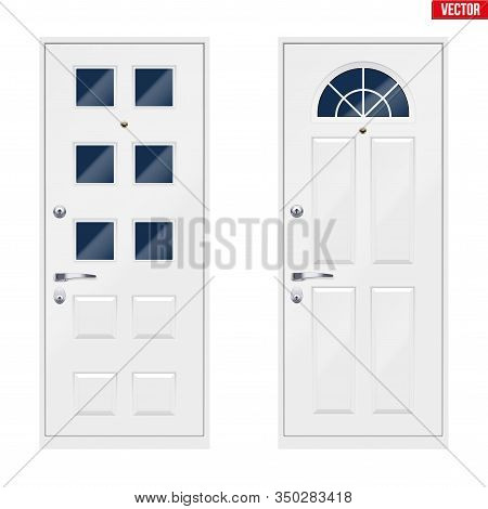 Set Of Classic White Entrance Doors With Viewing Window. Outdoor View. Presentation Of Metal Models