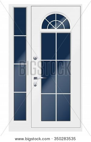 Set Of Classic White Entrance Double Doors With Viewing Window. Outdoor View. Presentation Of Metal
