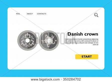 Vector Icon Of Head And Tail Sides Of Danish Crown. Denmark, Danish Native Currency, Money. Denmark