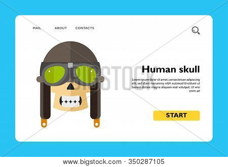 Icon Of Human Skull With Retro Aviator Helmet Or Biker Helmet. Goggles, Flying Helmet, Death, Aviati
