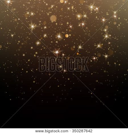 Gold Glittering Star Dust Sparkling Particles On Dark Background. Eps 10