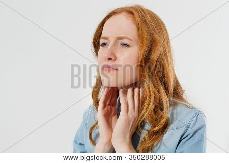 Red Hair Woman With Sore Throat Pain Portrait Close Up Isolated Copy Space, Sore Throat Treatment Co