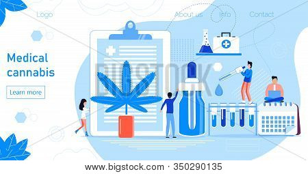 Medical Cannabis Concept Vector. Tiny Doctors Show Advantages Of Medical Marijuana, Cannabinoids Med