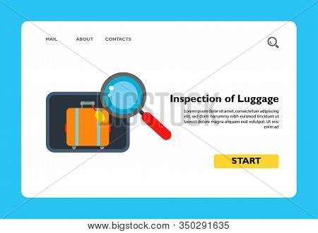 Illustration Of Suitcase With Tag And Magnifier. Inspection Of Luggage, Airport, Control, Security.