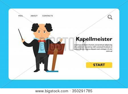 Icon Of Kapellmeister With Music Stand. Master, Profession, Conductor. Music Concept. Can Be Used Fo
