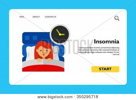 Insomnia Icon. Multicolored Vector Illustration Of Female Character Suffering From Insomnia