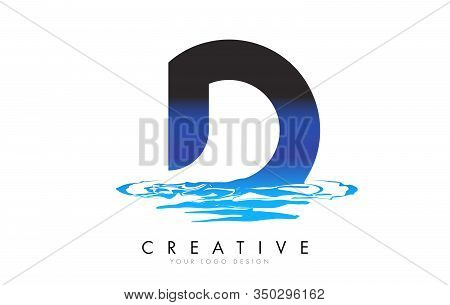 D Letter Logo Design With Water Effect And Deep Blue Gradient Vector Illustration. Template D-brand-