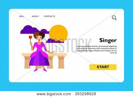 Icon Of Female Singer Performing. Actress, Talent, Play. Theater Concept. Can Be Used For Topics Lik