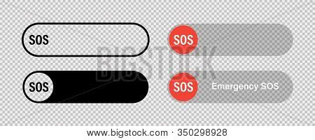 Sos Switch Red Toggle Button Vector Isolated Icon. Emergency Red Switch Icon. Round Button. Button W