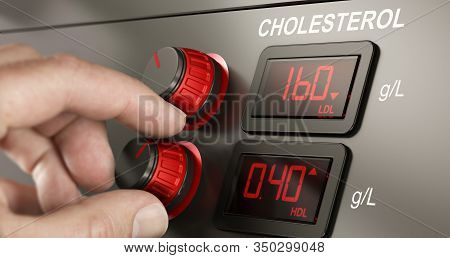Conceptual Dashboard With Levels Of Hdl And Ldl Cholesterol With Fingers Turning A Button To Increas