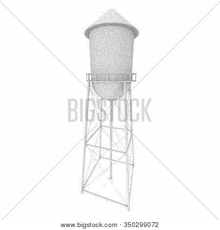 Water Tower. Industrial Construction With Water Tank. Dotwork Frame. Halftone Style Monochrome Gradi