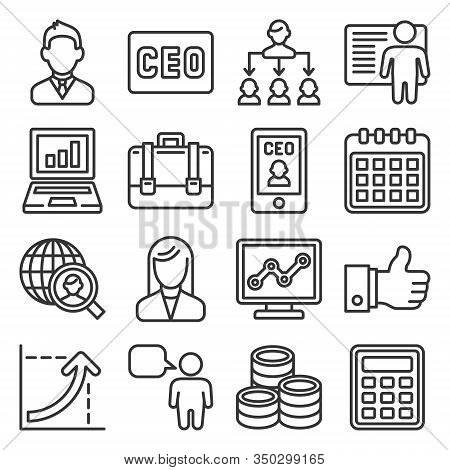 Ceo And Business Management Icons Set. Line Style Vector