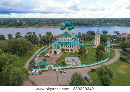 View Of The Old Resurrection Cathedral On A July Cloudy Day (aerial Photography). Tutaev (romanov-bo