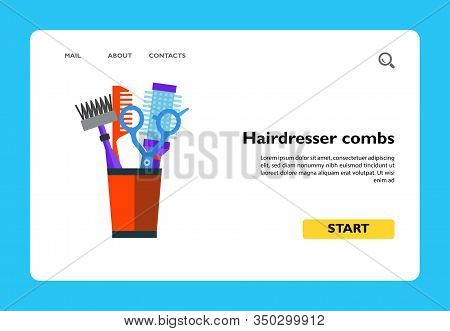 Vector Icon Of Hairdresser Combs And Shears In Pot. Barbershop, Haircut, Hairdressing Salon. Hairdre