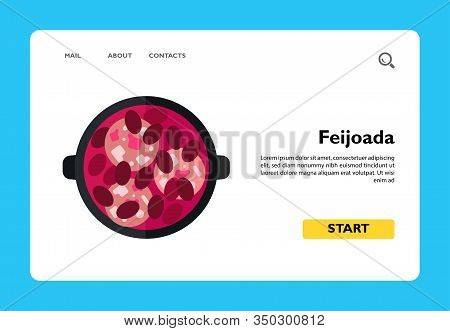 Vector Icon Of Top View Of Feijoada In Pot. Meat And Bean Dish, Portugal Cuisine, Gastronomy. Portug