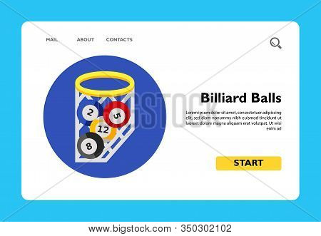 Four Billiard Balls In Net With Circle In Background. Game, Leisure, Table. Billiard Concept. Can Be