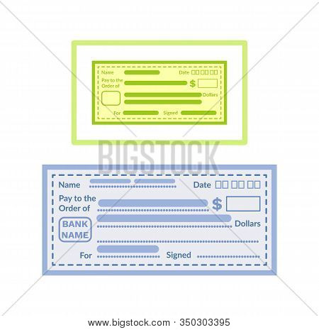 Pay Blank Check Template, Empty Financial Paper, Voucher For Fill Information, Name And Date, Pay An