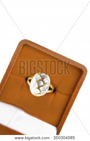 White Nacre Gold Ring In Orange Jewel Box On White Background