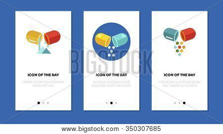 Capsule Powder Flat Icon Set. Drug, Remedy, Pills Isolated Sign Pack. Treatment, Pharmacy, Medicine