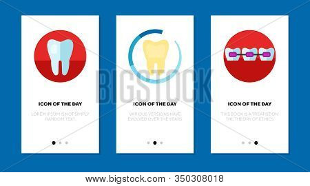 Dentistry Flat Icon Set. Tooth, Molar, Braces Isolated Sign Pack. Dental Care, Dentist, Stomatology