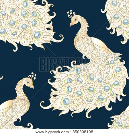 White Peacock Bird Seamless Pattern, Background With Eastern Ethnic Motif. Colored Vector Illustrati