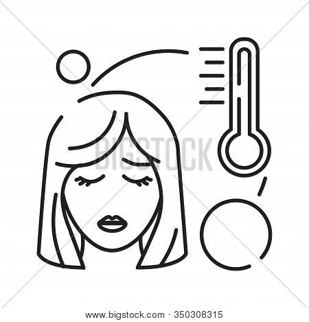 Hight Temperature, Fever Black Line Icon. Early Pregnancy Symptom. Pregnant Blond Woman And Thermome