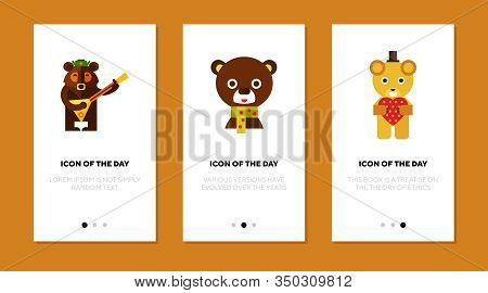 Toy Bears From Different Countries Flat Icon Set. Teddy Bear, Nationality, Animal Toy Isolated Sign