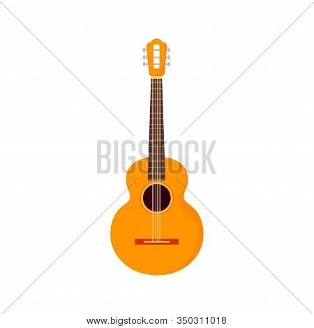 String Electric Guitar Isolated On White Background. Cartoon Musical Instruments In Flat Style. Guit