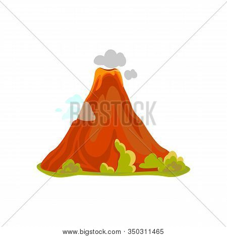 Cartoon Hot Volcano With Magma And Lava. Vulcano Rock Mountains Icon Isolated On White. Vector Illus