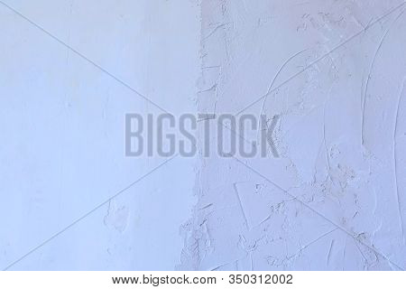 Putty Wall Aligning With Plaster In Room, Renovation Construction Works And Overhaul, Closeup View.