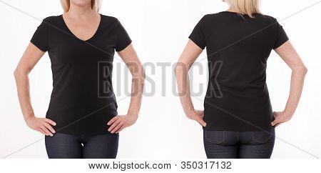 T-shirt Design And People Concept - Close Up Of Woman In Blank Black Shirt, Shirt Front And Rear Iso