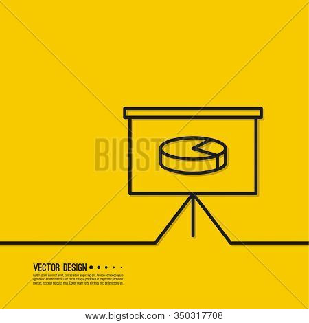 Graph Presentation Of Investment Analysis In The Form Of Chat Pie On Flipchart. Vector Illustration