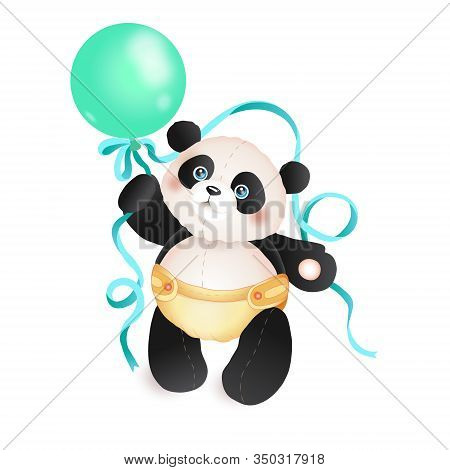 Cute Panda Toddler With A Balloon. Panda Character Vector Illustration. Panda In The Diaper.