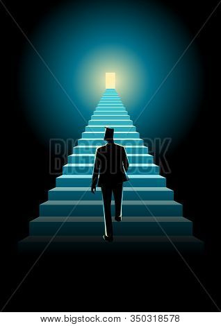 Business Concept Illustration Of A Man Walking On A Stairway Leading Up To A Bright Door