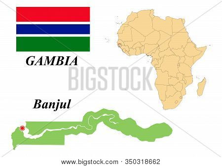 Republic Of The Gambia. The Capital Is Banjul. Flag Of The Gambia. Map Of The Continent Of Africa Wi