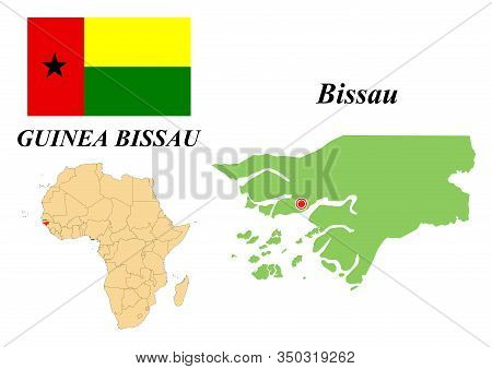 Republic Of Guinea-bissau. Capital Of Bissau. Flag Of Guinea-bissau. Map Of The Continent Of Africa