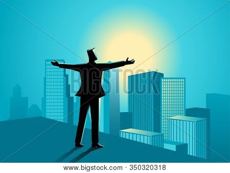 Business Concept Illustration Of  Businessman Standing On The Rooftop Of A High Building Opening His