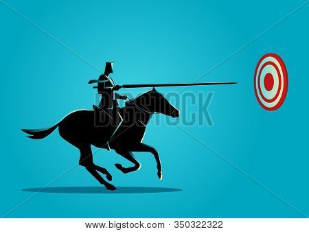 Business Concept Illustration Of A Businessman On Horseback Charging In A Joust With Lance Trying To