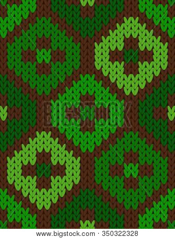 Vector Knitting Seamless Background With Shamrock Pattern