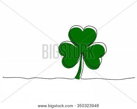 Vector Illustration Of Green Shamrock In Grunge Style