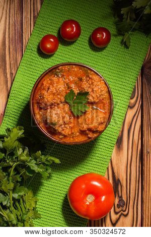 Meatballs With Tomato Sauce And Parsley On Wooden Background. Keto Diet Food. Ketogenic.