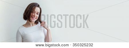 Happy Girl Smiling. Beauty Portrait Young Happy Positive Laughing Brunette Woman On White Background