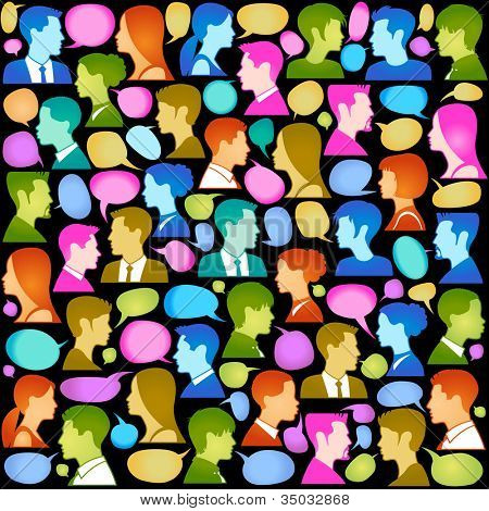 Seamless vector  background consists of many icons of modern humans.