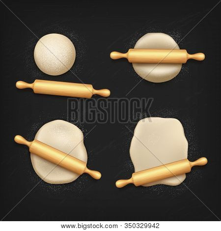 Dough And Rolling Pin With Flour, Vector 3d Realistic Design. Dough Kneading With Wooden Roller On B