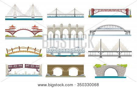 Bridges Architecture, Vector Flat Simple Icons Set. Different Types Of Bridges, Movable And Hanging