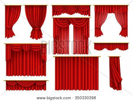 Red Curtains Drapery, Vector Isolated On White Background. Theater, Cinema Premiere Or Opera Velvet