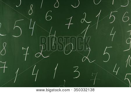 Arithmetic White Numbers On Green School Chalkboard
